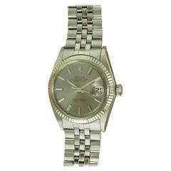 Rolex White Gold Stainless Steel Datejust Fluted Bezel Wristwatch Ref 1601