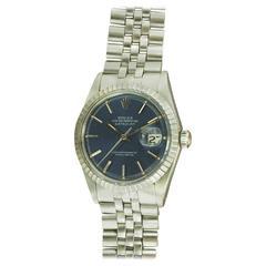 Rolex Stainless Steel Galvanized Blue Dial Datejust Wristwatch Ref 1603