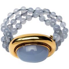 1981 Tiffany & Co. Paloma Picasso Chalcedony Gold Bracelet