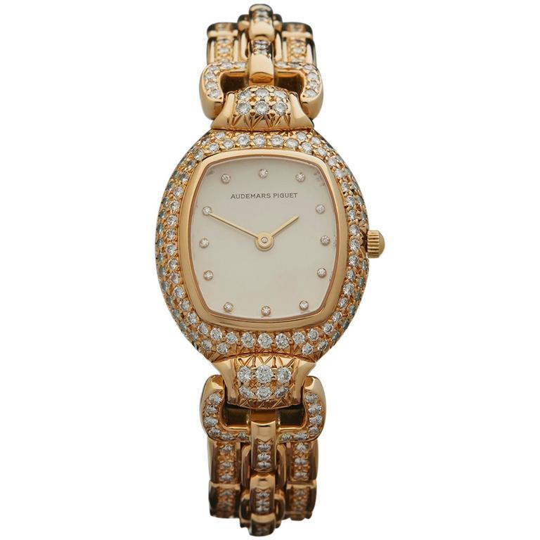 Audemars Piguet Lady's Yellow Gold Factory Diamonds Quartz Wristwatch