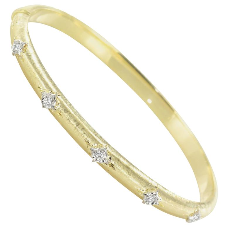 Brushed Gold Diamond Bangle Bracelet  For Sale