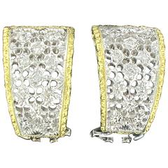 Diamond Two Color Gold Filigree Earrings