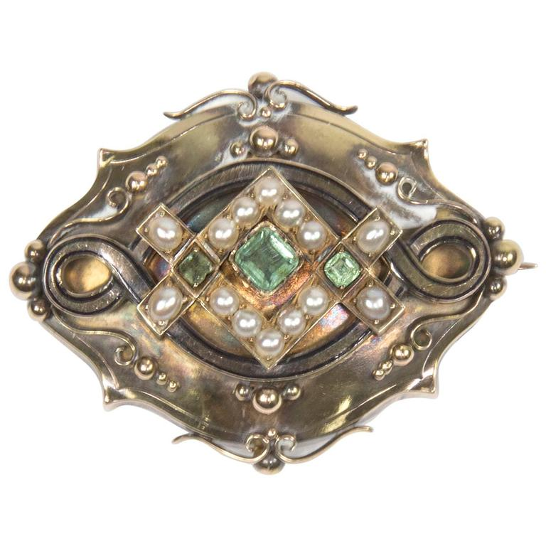 Antique Victorian Pearl Emerald Gold Mourning Brooch Pin Locket