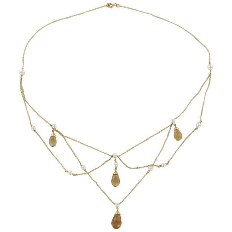 Citrine Pearl Gold Necklace