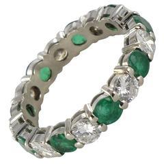 Emerald Diamond Gold Eternity Ring