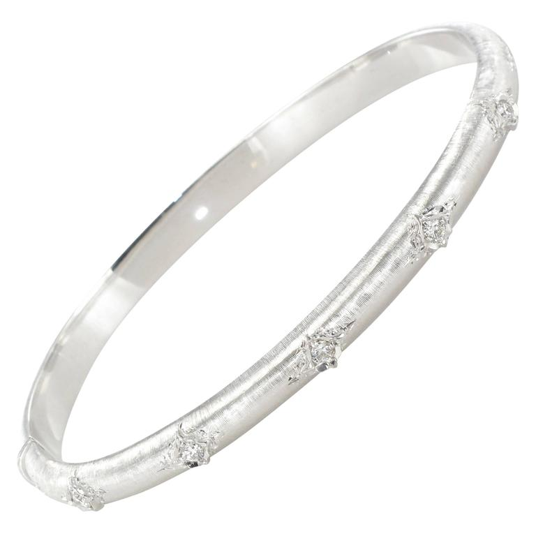 Brushed Diamond Bangle Bracelet