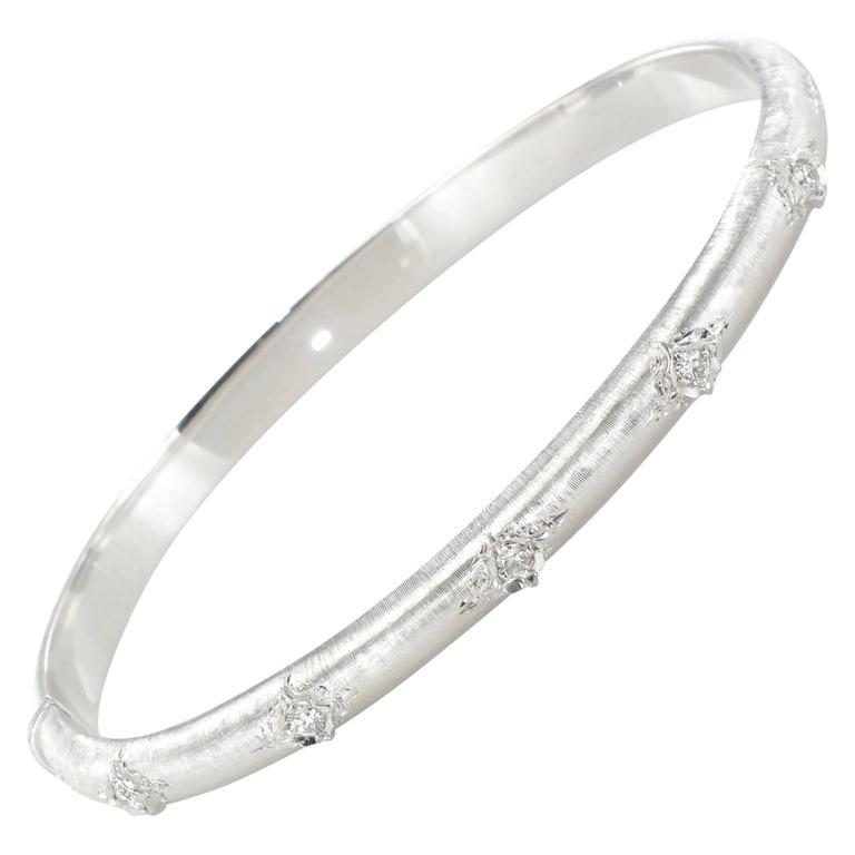 Brushed Diamond Bangle Bracelet