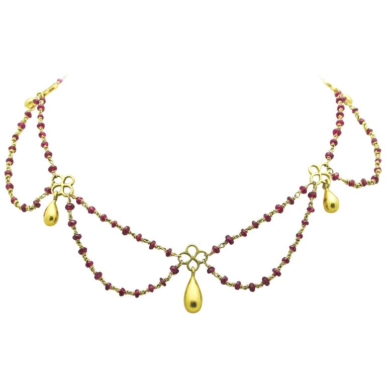 Ruby Gold Multistrand Necklace