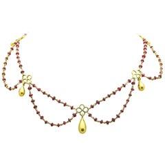 Ruby 18k Gold Multistrand Necklace