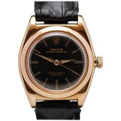 Rolex Rose Gold Chronometre Bubble Back Wristwatch Ref 3065