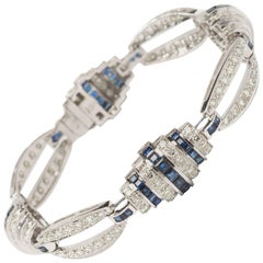 Diamonds and Sapphire Gold Link Bracelet