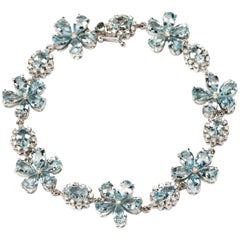 Flower Shape Aquamarine Diamond Gold Bracelet