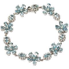 Flower Shape Aquamarine Diamond Gold Bracelet