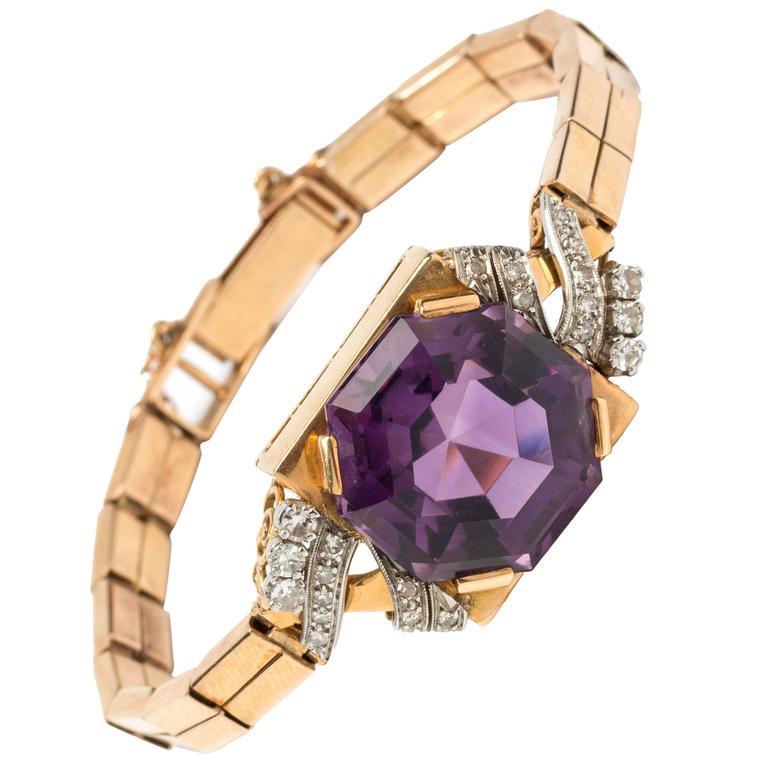 Amethyst Diamond Gold Bracelet