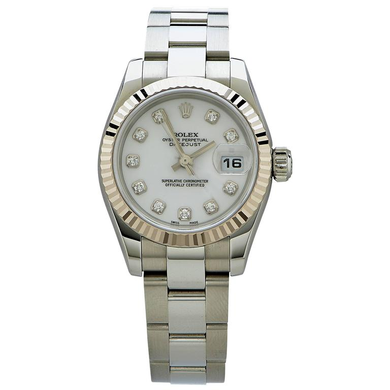 Rolex Stainless Steel Diamond Dial Oyster Perpetual Date Just Wristwatch For Sale