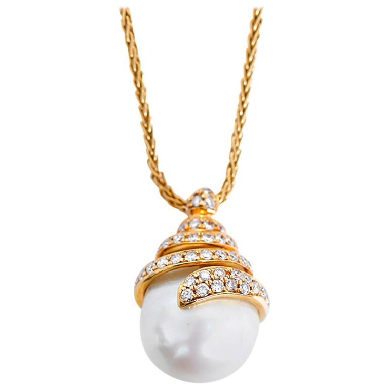 Yvel Yellow Gold, Diamond, and Freshwater Pearl Pendant Necklace