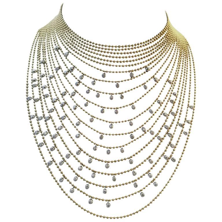Cartier Sublime Diamond Gold Draperie Necklace Set   1