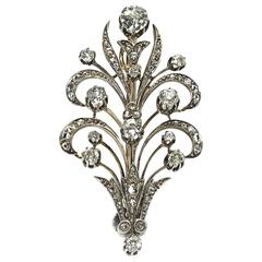 Diamond Silver Gold Flower Brooch
