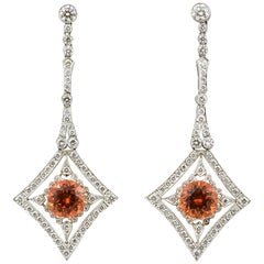 2.72 ct Mandarin Garnet 8.04 ct Diamond Platinum Drop Earrings