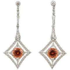 Mandarin Garnet Diamond Platinum Drop Earrings
