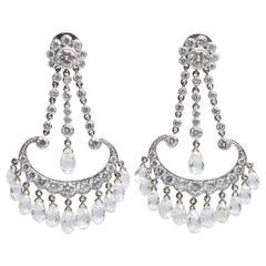 Antique Diamond Gold Chandelier Earrings