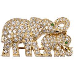 Cartier Emerald Diamond Gold Elephant Brooch
