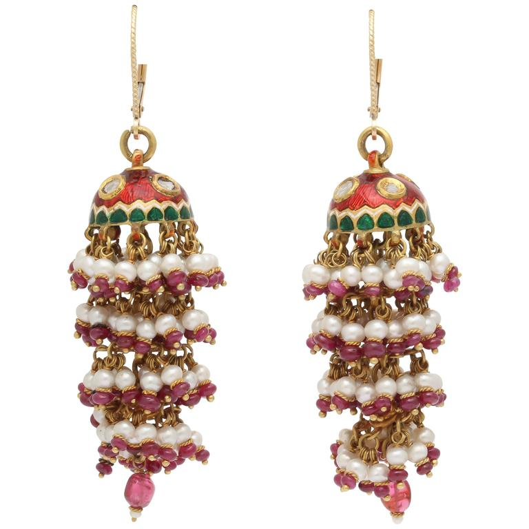 Exotic Enamel and Ruby Indian Tassle Earrings 1