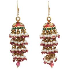 Exotic Enamel and Ruby Indian Tassle Earrings