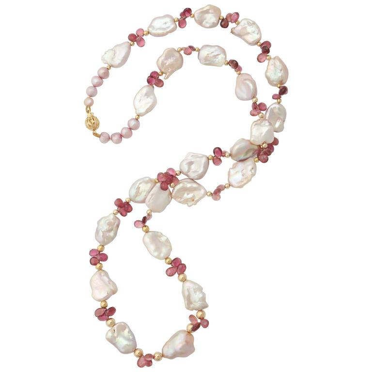 Luscious Pink Tourmaline and Pink Baroque Pearl Necklace