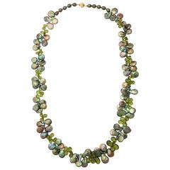 Sumptuous Peridot Briolette and Baroque Coin Pearl Necklace