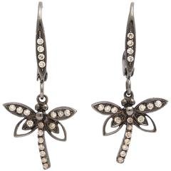 Delicate Gold and Diamond Dragonfly Earrings