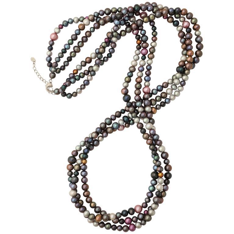 Long Triple Strand Multi-Color Pearls