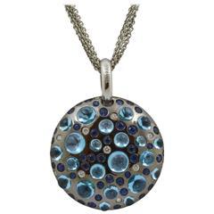 Rodney Rayner Blue Sapphire Blue Topaz Diamond Gold Pendant