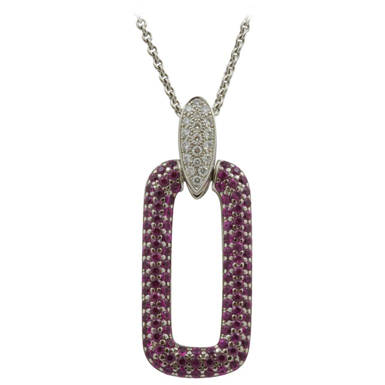 Rodney Rayner 2.81 ct Pink Sapphire White Gold Pendant