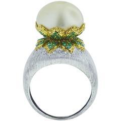Buccellati Pearl Emerald Gold Ring