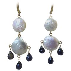 Large Double Flat Pearl and Iolite Briolette Earrings by Marina J. 2016