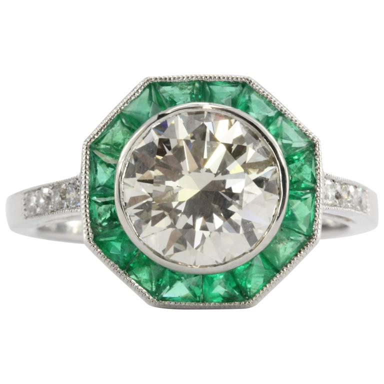 Art Deco Style 2 1 Carat Diamond Emerald Platinum Sophia D Engagement Ring Fo