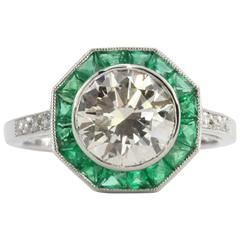 Art Deco Style 2.1 Carat Diamond Emerald Platinum Sophia D Engagement Ring