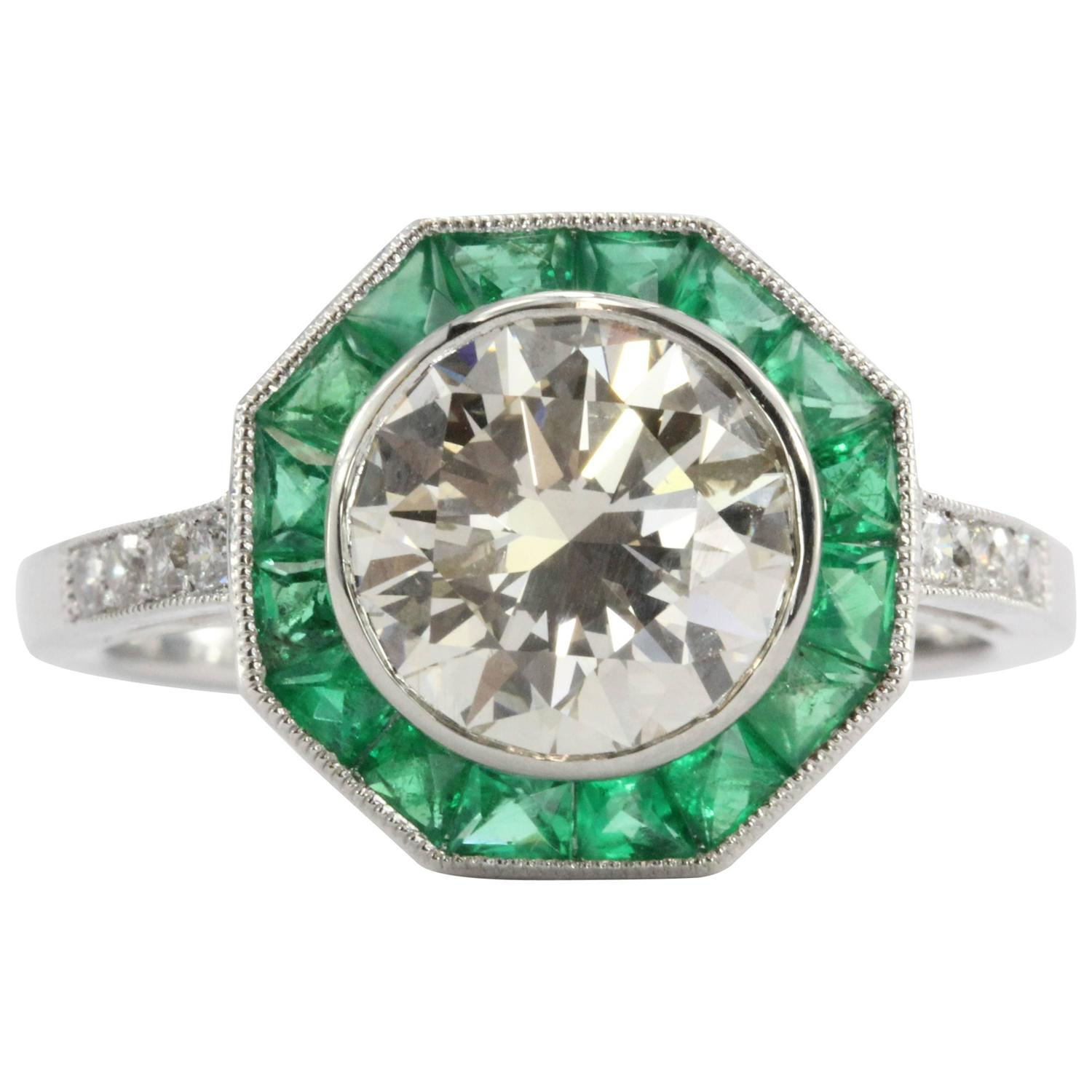 deco style 2 1 carat emerald platinum d engagement ring for sale at 1stdibs