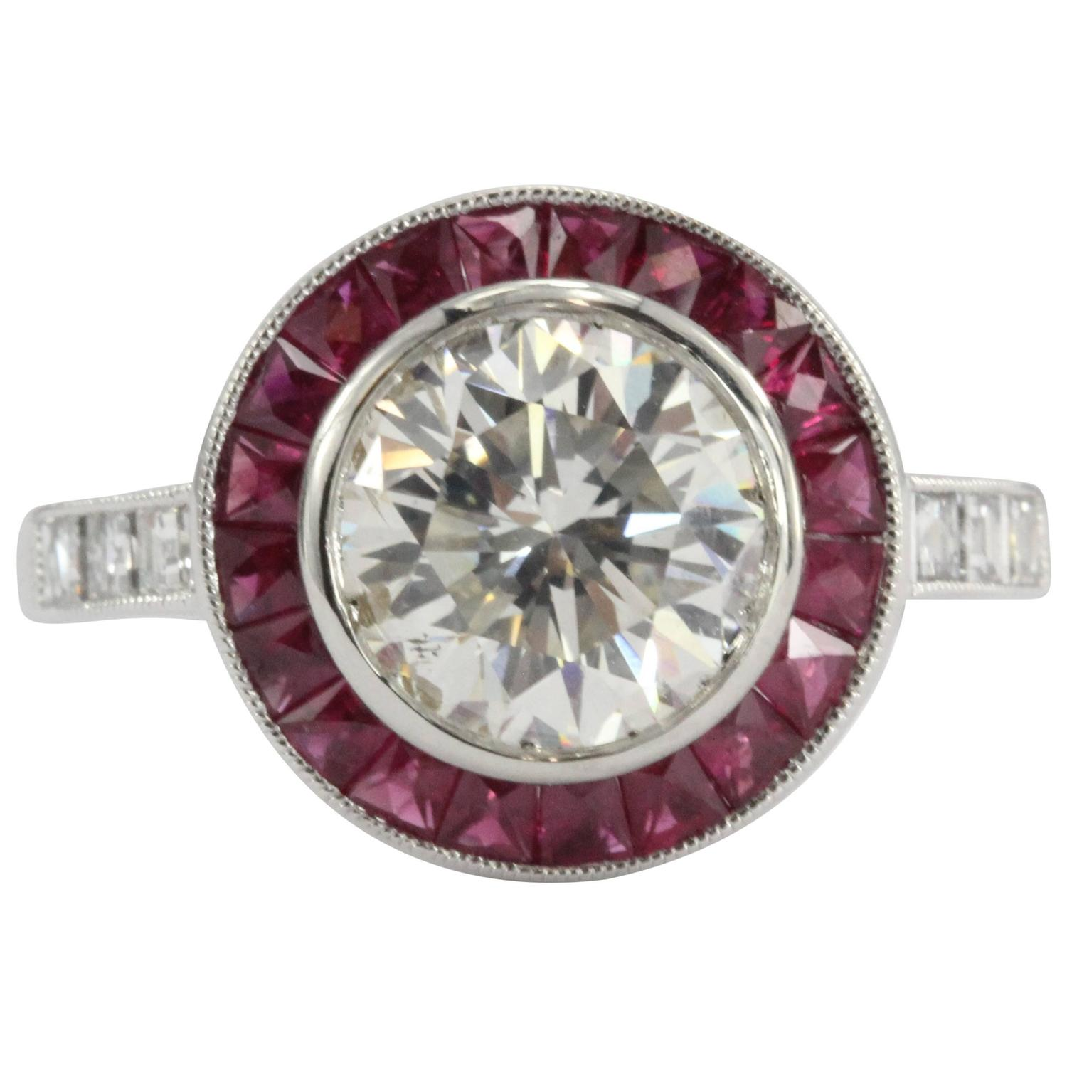 Art Deco Platinum 19 Carat Diamond And Ruby Engagement Ring At 1stdibs