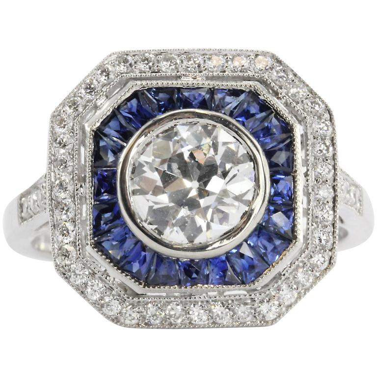 1.02 Carat GIA Cert Old European Diamond Sapphire Platinum Ring For Sale