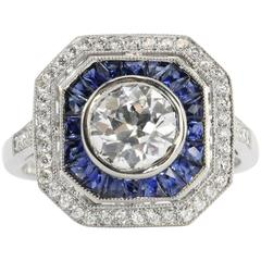 1.02 Carat GIA Cert Old European Diamond Sapphire Platinum Ring