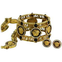 """Versace Gold """"Atelier"""" Necklace Earring and Bracelet Suite"""