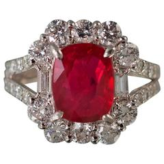 No Heat GIA Cert Ruby Diamond Platinum Ring