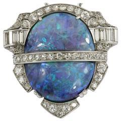 Rare Art Deco Australian Black Opal Diamond Platinum Pendant Brooch