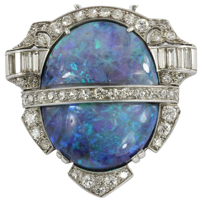 Gold Australian Platinum: Rare Art Deco Australian Black Opal Diamond Platinum