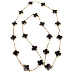 Van Cleef & Arpels Vintage Alhambra Twenty-Motif Black Onyx Gold Necklace