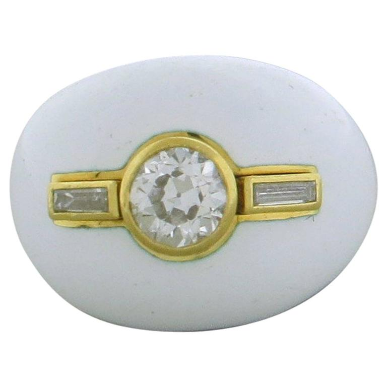 David Webb Diamond White Enamel Gold Dome Ring