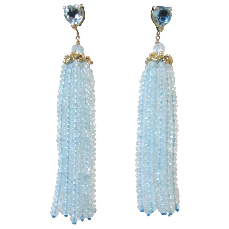 Aquamarine Tassel Earrings with Gold Cup By Marina J. 2016 For Sale