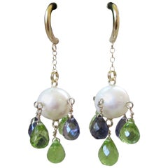 Marina J Pearl with Peridot and Iolite Briolettes Earrings with 14K Yellow Gold